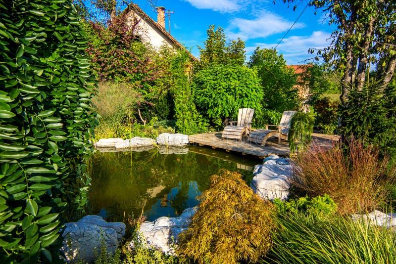 Красивый сад с прудом стоковые фотографии rf