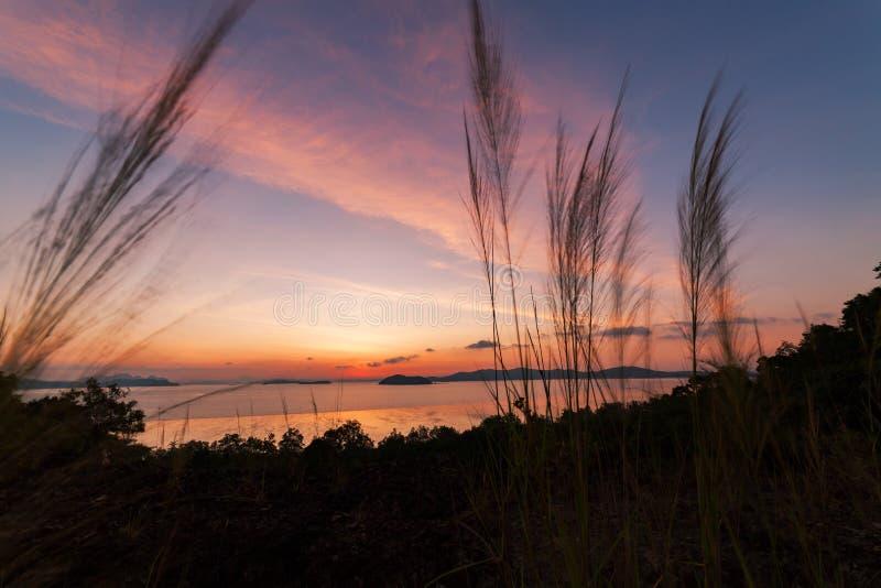 Красивый свет в заходе солнца или восход солнца над тропической сценой моря стоковое фото