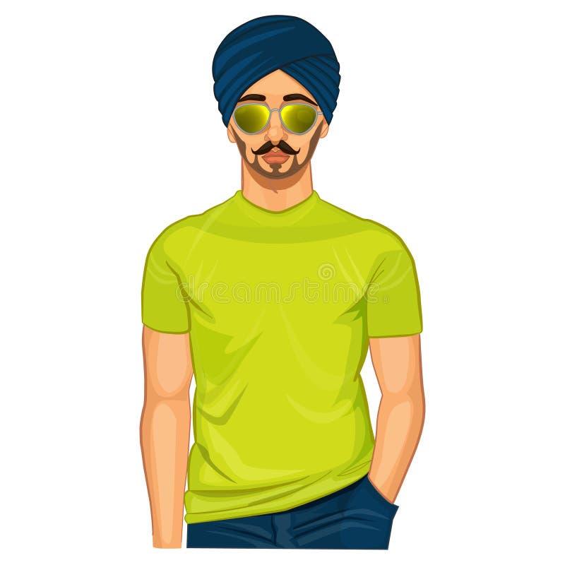 Красивый сикхский индийский парень иллюстрация вектора