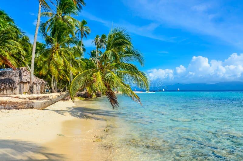 Красивый сиротливый пляж в карибском острове Сан Blas, Kuna Yala, Панаме Море бирюзы тропическое, назначение перемещения рая, стоковое фото rf