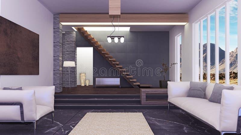 Красивый современный интерьер живущей комнаты иллюстрация вектора