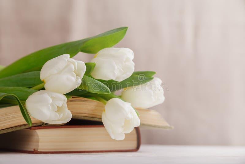 Красивый состав с белыми тюльпанами и старыми книгами на бежевой запачканной предпосылке в свете утра Чтение весны стоковые изображения rf