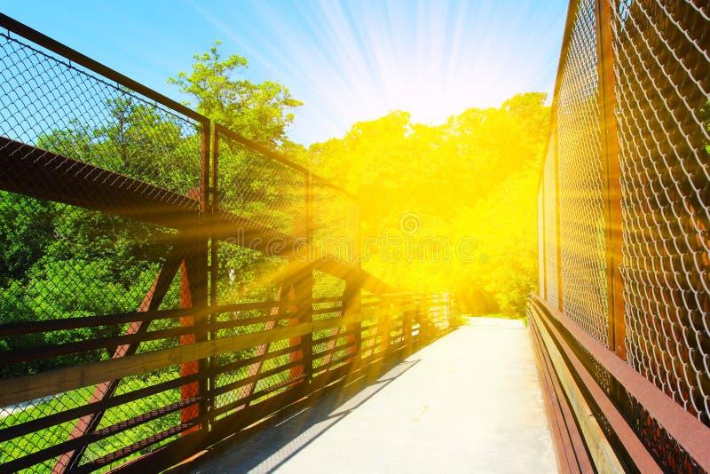 Красивый стальной мост для велосипедистов и идти в одичалый парк стоковое изображение rf