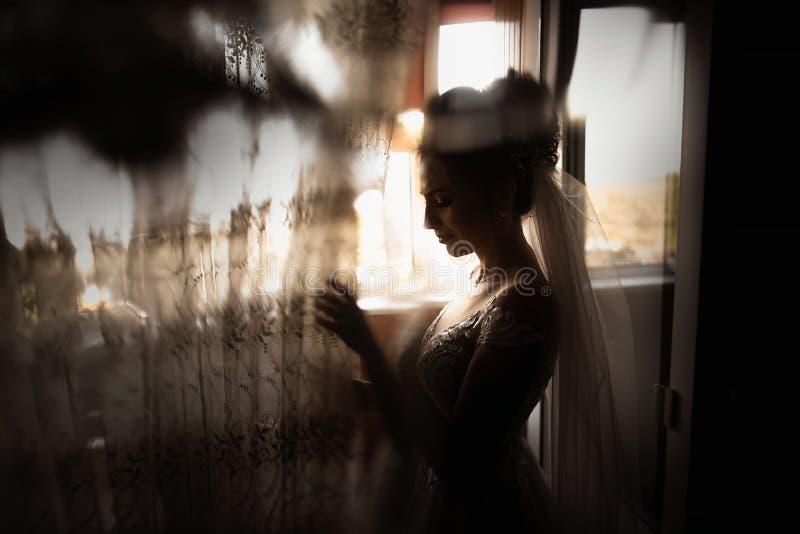 Красивый стиль невесты Стойка девушки свадьбы в роскошном платье свадьбы около окна стоковые фотографии rf