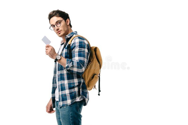 красивый студент проводя пустой плакат стоковое фото
