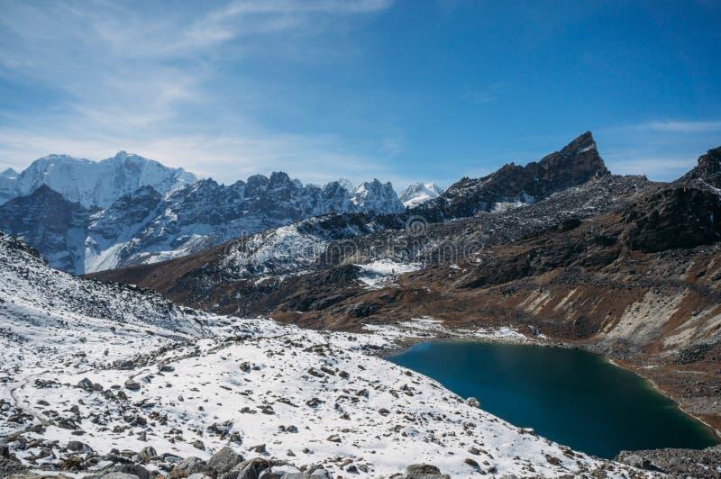 красивый сценарный ландшафт с снежными горами и озером, Непалом, Sagarmatha, стоковое фото