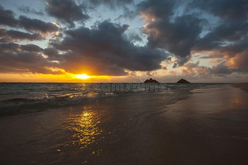 Красивый сценарный пляж Оаху Гаваи LaniKai стоковое изображение