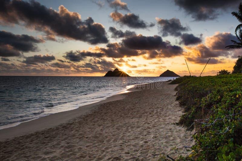 Красивый сценарный пляж Оаху Гаваи LaniKai стоковые изображения rf