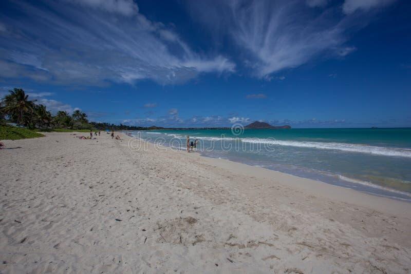 Красивый сценарный тропический пляж Оаху Гаваи Kailua стоковая фотография rf