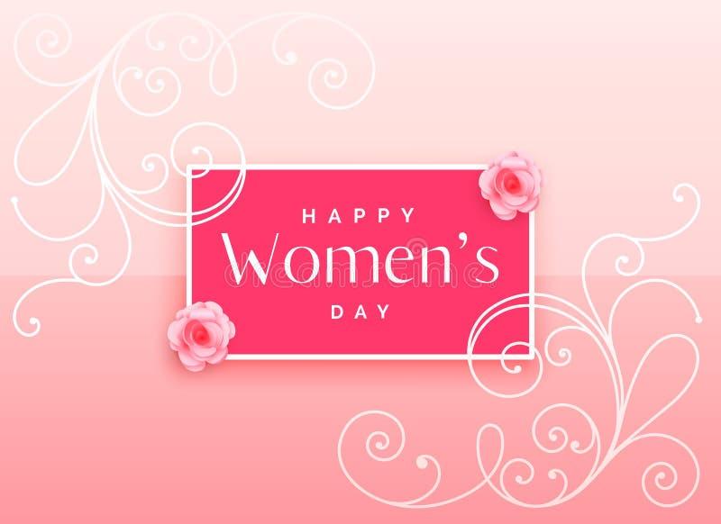Красивый счастливый дизайн дня ` s женщин с флористическим украшением иллюстрация штока
