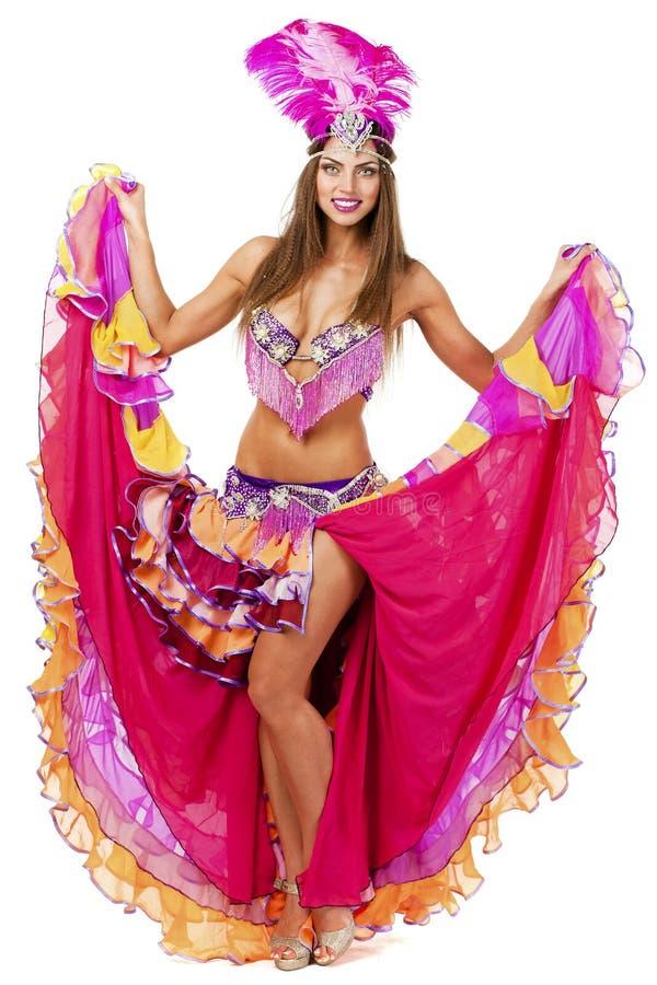 Красивый танцор масленицы, изумительный костюм стоковая фотография rf