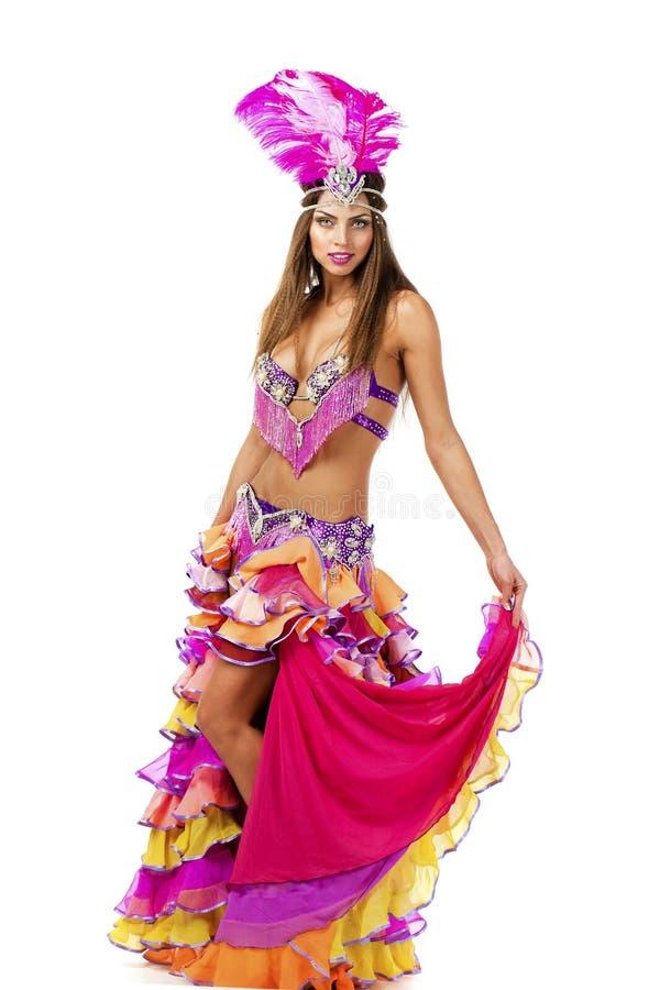 Красивый танцор масленицы, изумительный костюм стоковое фото rf