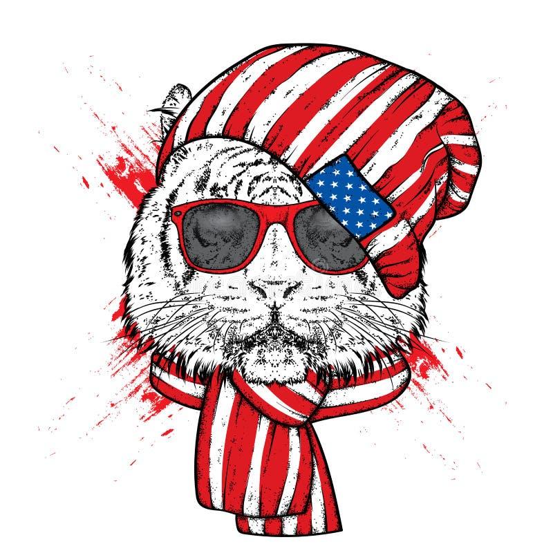 Красивый тигр в стильных шляпе и шарфе Vector иллюстрация для печатей на одеждах, открытках или плакатах бесплатная иллюстрация
