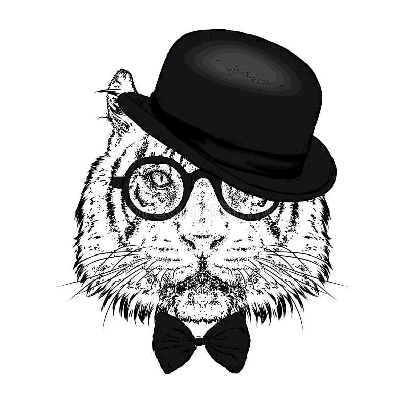 Красивый тигр с шляпой и стеклами также вектор иллюстрации притяжки corel Дикое животное, хищник иллюстрация вектора