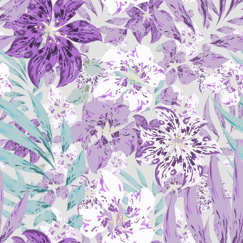 Красивый тропический цветочный бесшовный рисунок с пурпурными и белыми цветами с листьями на сером фоне бесплатная иллюстрация