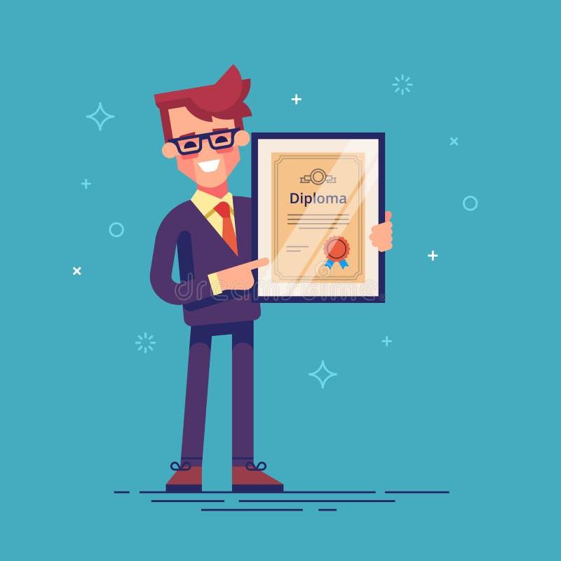 Красивый успешный бизнесмен держа диплом в его руках Студент-выпускник MBA иллюстрация самомоднейшая иллюстрация штока