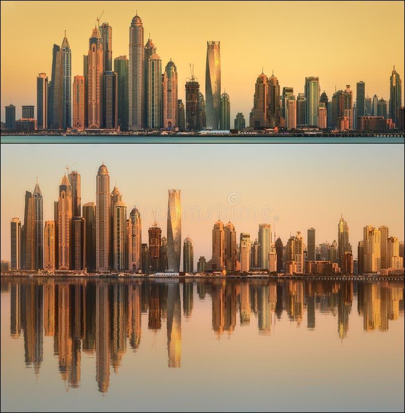 Красивый установленный городской пейзаж и коллаж Дубай стоковая фотография rf