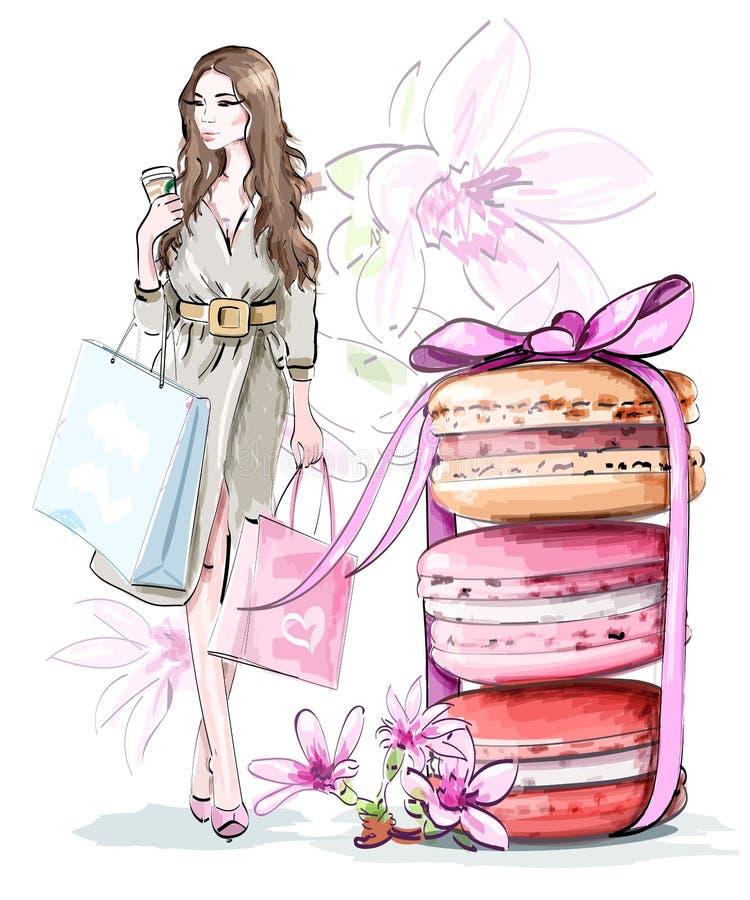 Красивый установленный эскиз: фасонируйте женщину с хозяйственными сумками, сладостные милые macarons с смычком и цветки иллюстрация вектора