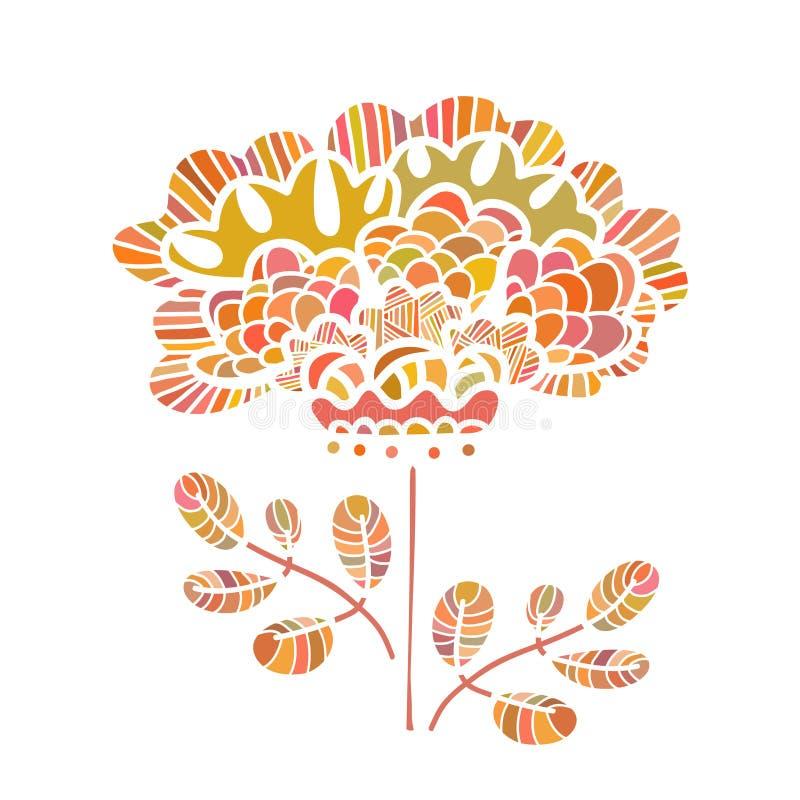 Красивый цветок вектора нарисованный вручную Совершенное флористическое templ карточки бесплатная иллюстрация