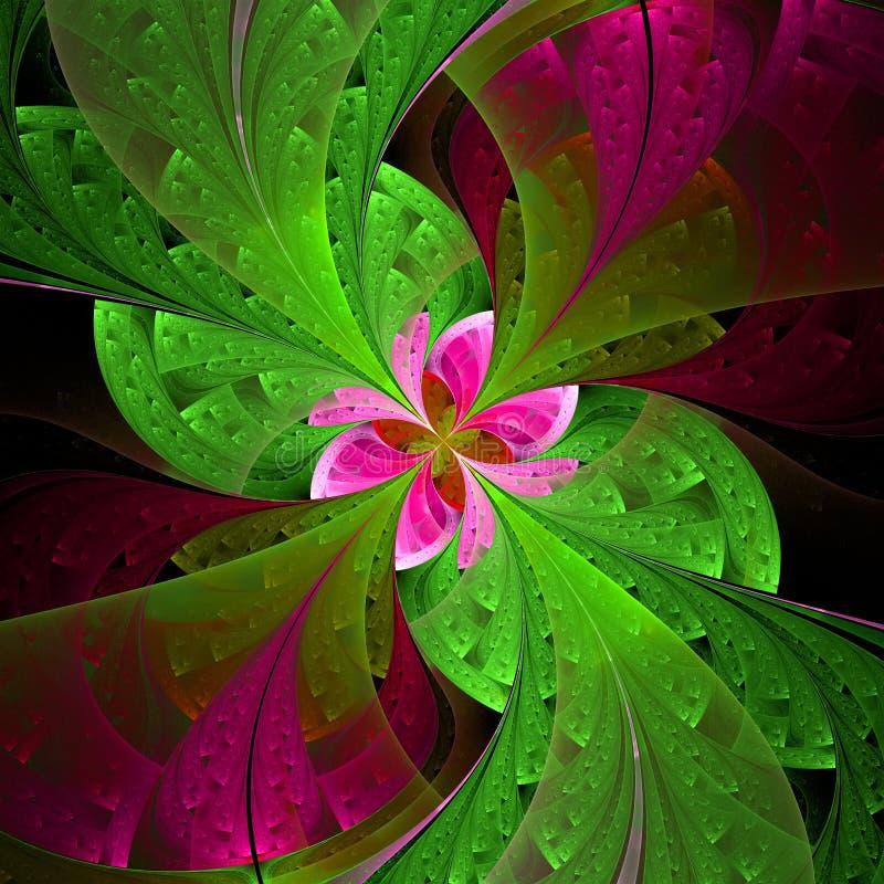 Красивый цветок фрактали в зеленом цвете и пинке. G произведенный компьютером иллюстрация штока