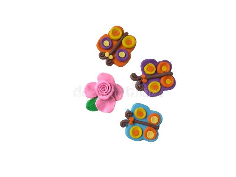Красивый цветок цветеня, глина пластилина бабочки, розовое розовое тесто стоковое изображение