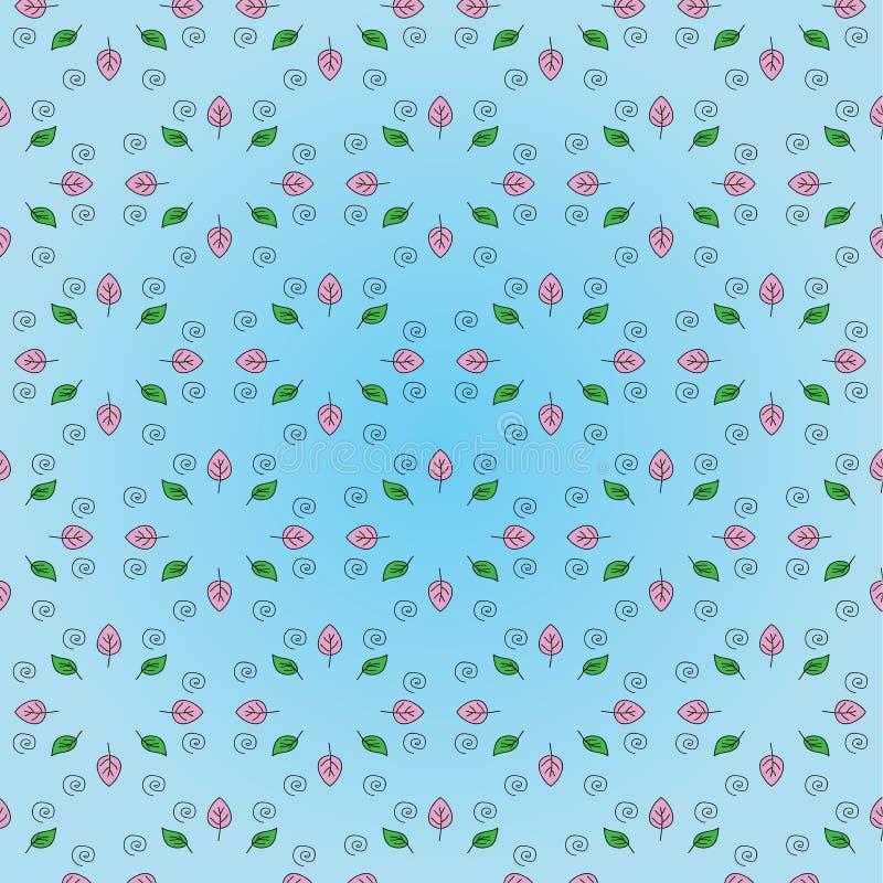 Красивый цветочный узор: листья пинка и зеленого цвета, черная спираль на нежной голубой предпосылке бесплатная иллюстрация