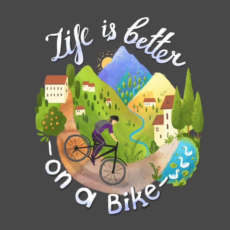 Красивый цифровой ландшафт с велосипедистом и горами бесплатная иллюстрация