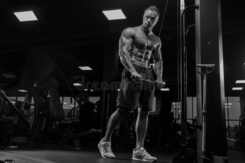 Красивый человек при большие мышцы, представляя на камере в спортзале стоковое изображение rf