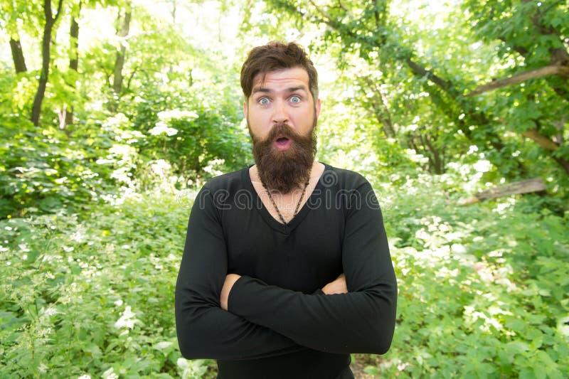 Красивый человек с бородой и усик в природе Зверство концепции джунглей Сезон жары лета Дикая природа r стоковое фото