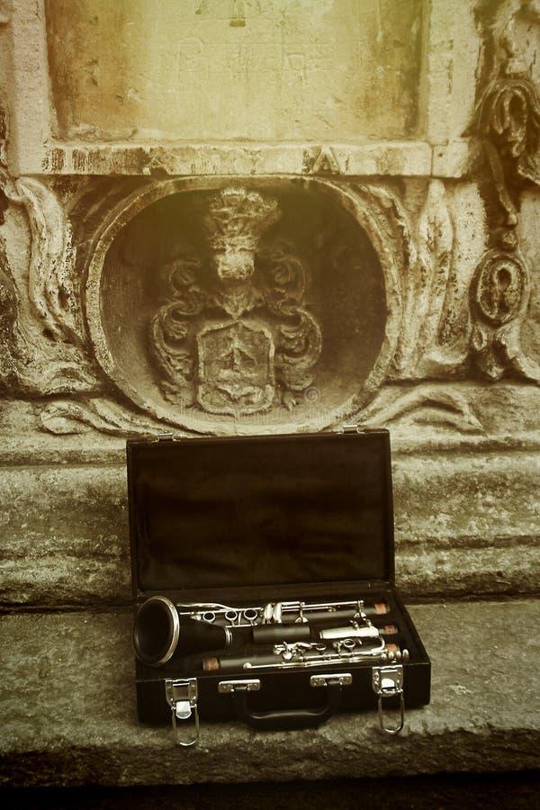 Красивый черный и серебряный кларнет в классическом случае на backgroun стоковые изображения