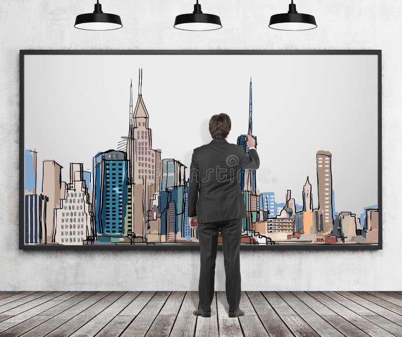 Красивый человек в официально одеждах рисует изображение Нью-Йорка Деревянный пол, бетонная стена и 3 черных потолочного освещени иллюстрация штока