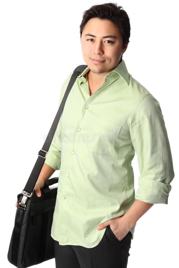 Красивый человек в рубашке с копилкой стоковые фотографии rf