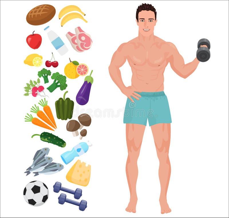 Красивый человек здоровья спорта Иллюстрация вектора образа жизни infographic с значками иллюстрация штока