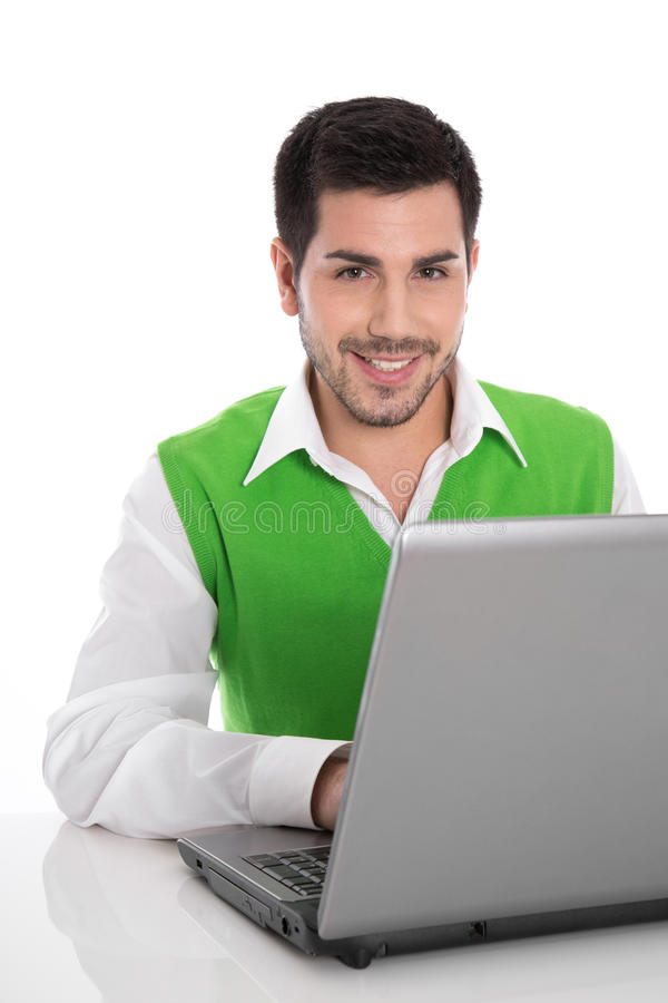 Download Красивый человек работая на компьтер-книжке на столе изолированном на белом Backgro Стоковое Изображение - изображение насчитывающей работа, дело: 37927131