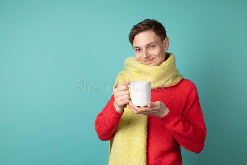 Красивый чувственный человек нося красный свитер и шарф, держа чашку чаю в руке стоковая фотография rf