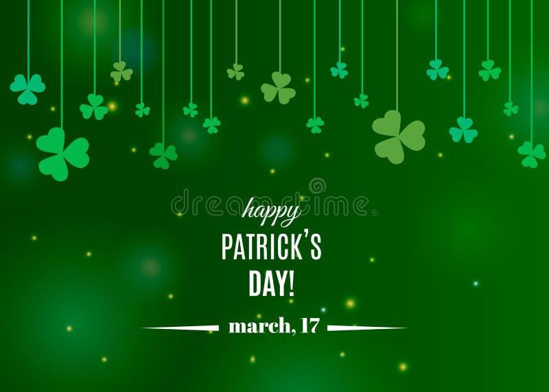 Красивый шаблон знамени листьев shamrock клевера для поздравительной открытки дизайна или дня ` s St. Patrick иллюстрация вектора