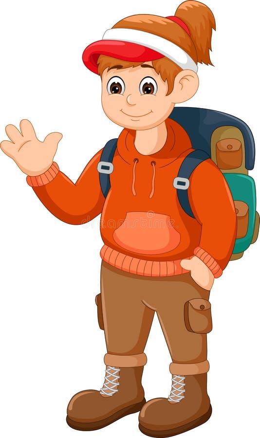 Красивый шарж backpacker стоя с улыбкой и развевать бесплатная иллюстрация