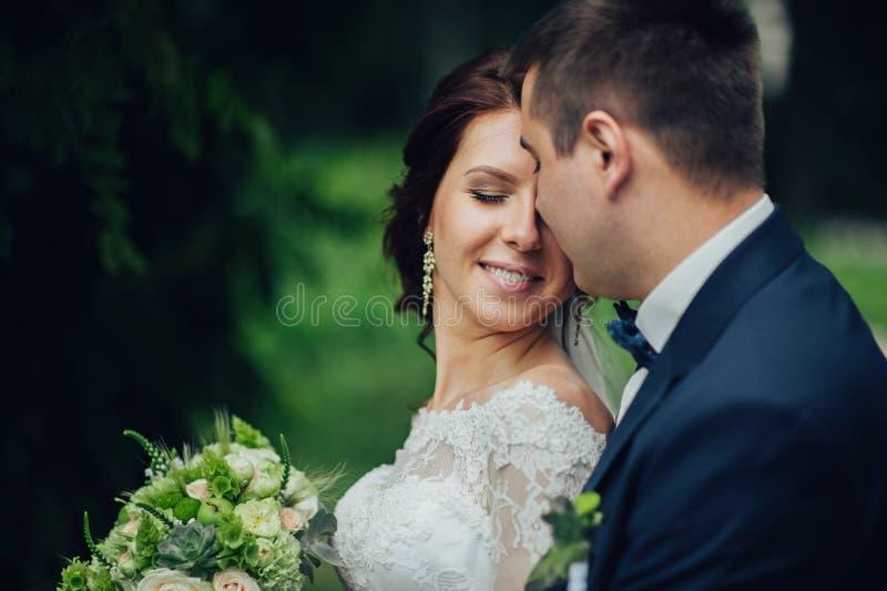 Красивый шикарный жених и невеста идя в солнечный парк и kis стоковые фото