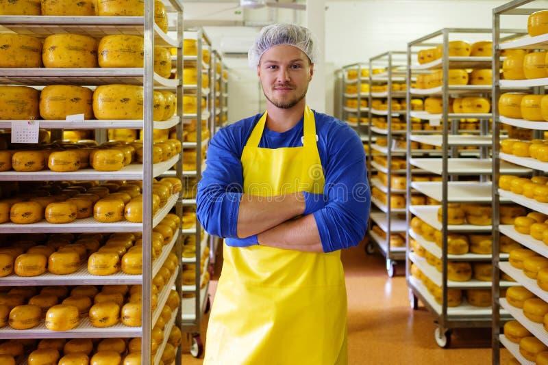 Красивый cheesemaker проверяет сыры в его хранении мастерской стоковое изображение