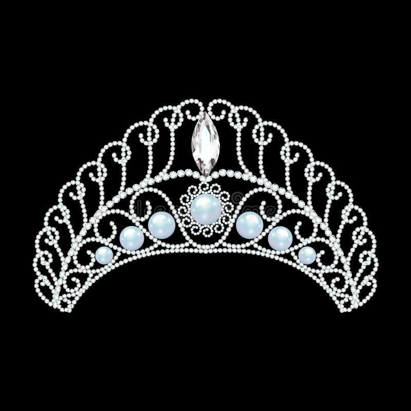 красивый diadem, крона, женщина тиары с жемчугом иллюстрация штока