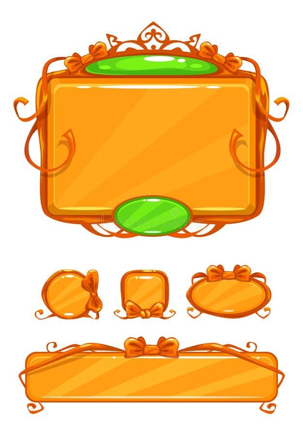 Красивый girlish оранжевый пользовательский интерфейс игры иллюстрация вектора