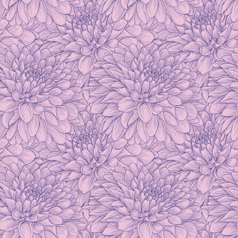 Красивый monochrome год сбора винограда красит безшовный георгин предпосылки нарисованный вручную иллюстрация вектора