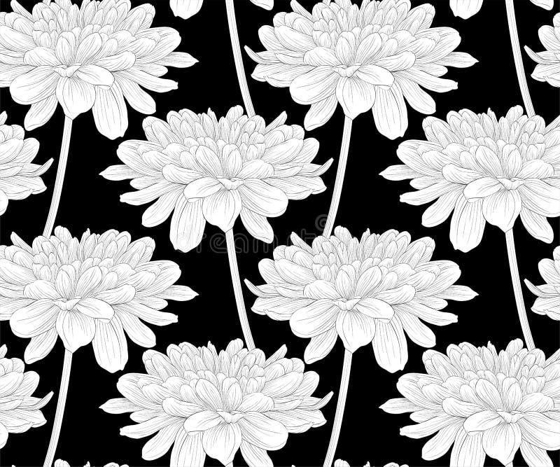 Красивый monochrome, черно-белая безшовная предпосылка с георгином цветков с стержнем иллюстрация вектора