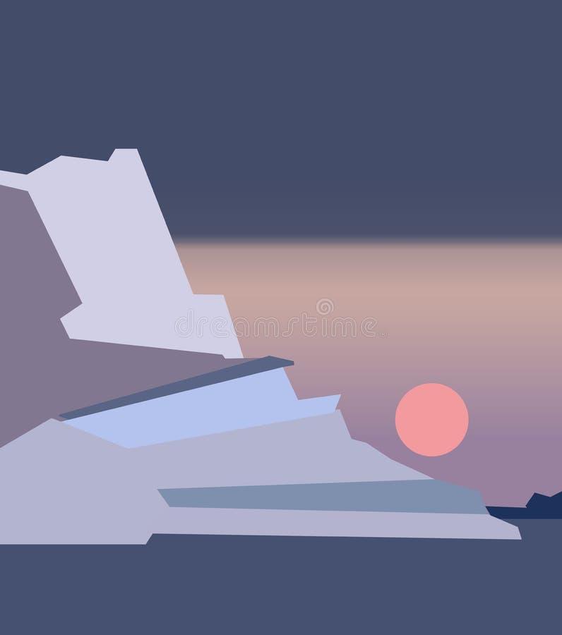 Красивый seascape с темно-синими ледниками на поверхности воды, взгляде от берега Красочный абстрактный заход солнца иллюстрация штока