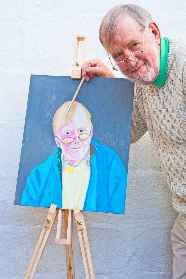 Красить автопортрет в маслах стоковое изображение rf