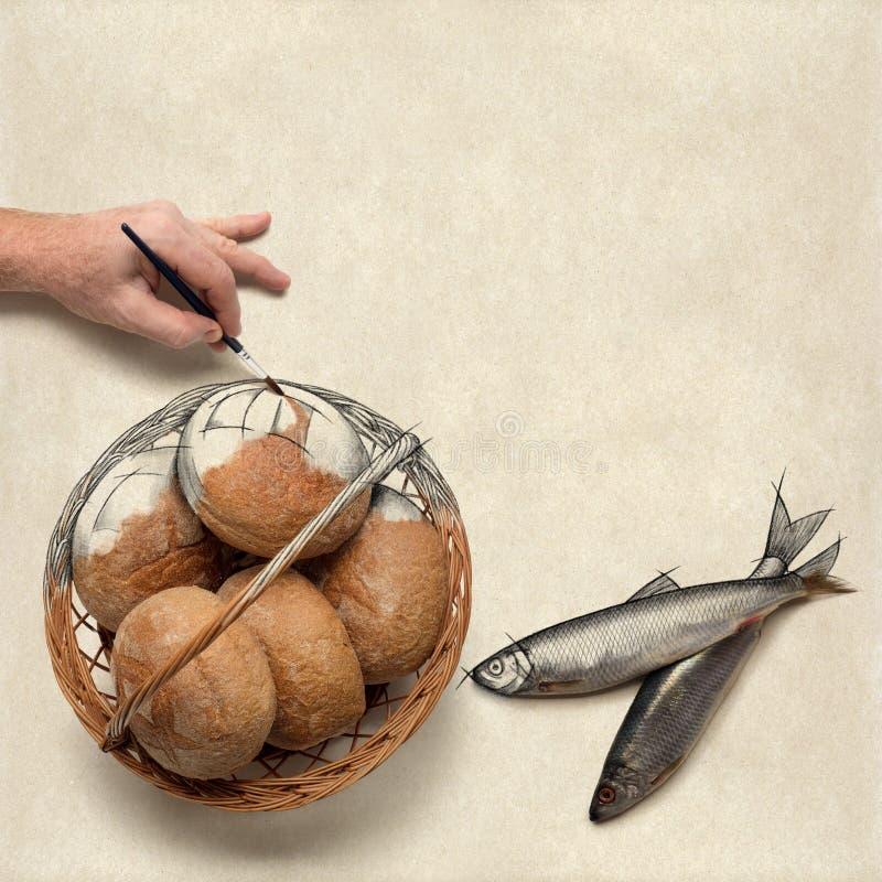 Красить 5 малых хлебцев ячменя и 2 малых рыбы стоковое изображение