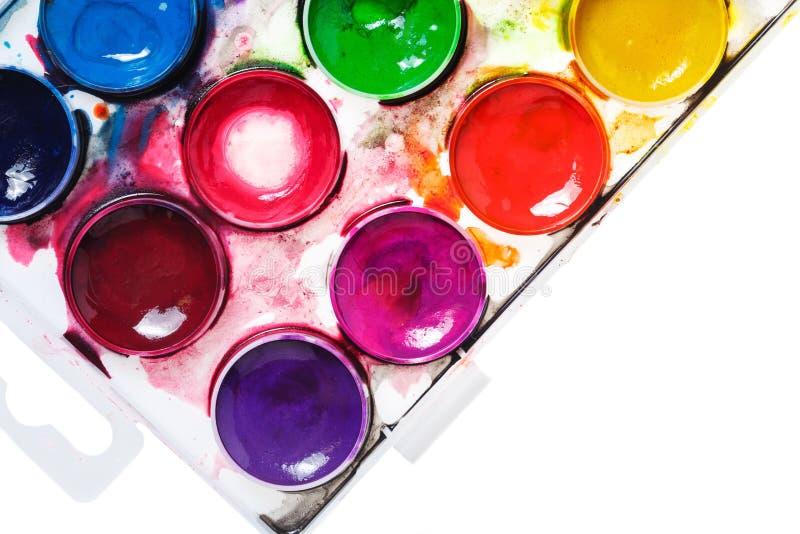 красит акварель paintbox стоковое изображение rf