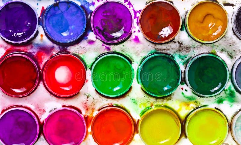 красит акварель paintbox стоковая фотография rf