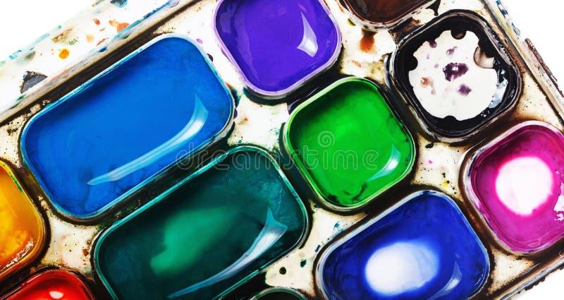 красит акварель paintbox стоковые фотографии rf