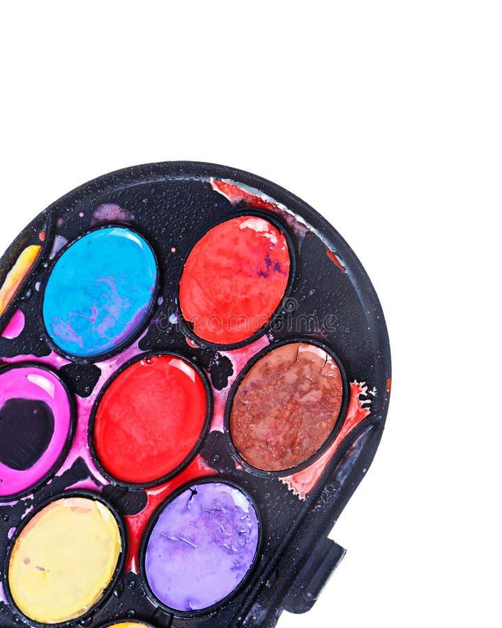 красит акварель paintbox стоковые фото